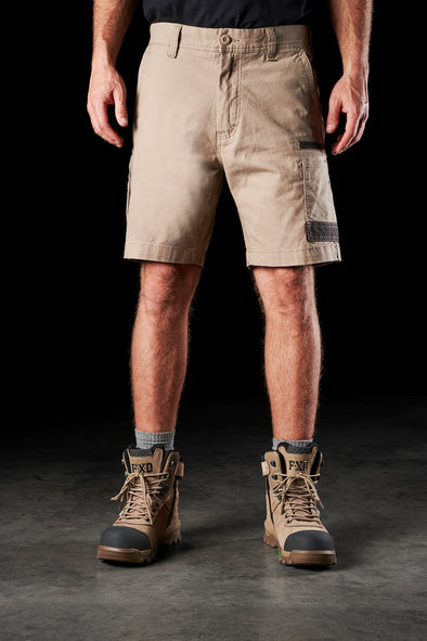 The FXD Workwear WS-3 Stretch Work Short, colour khaki, photographed from the front.