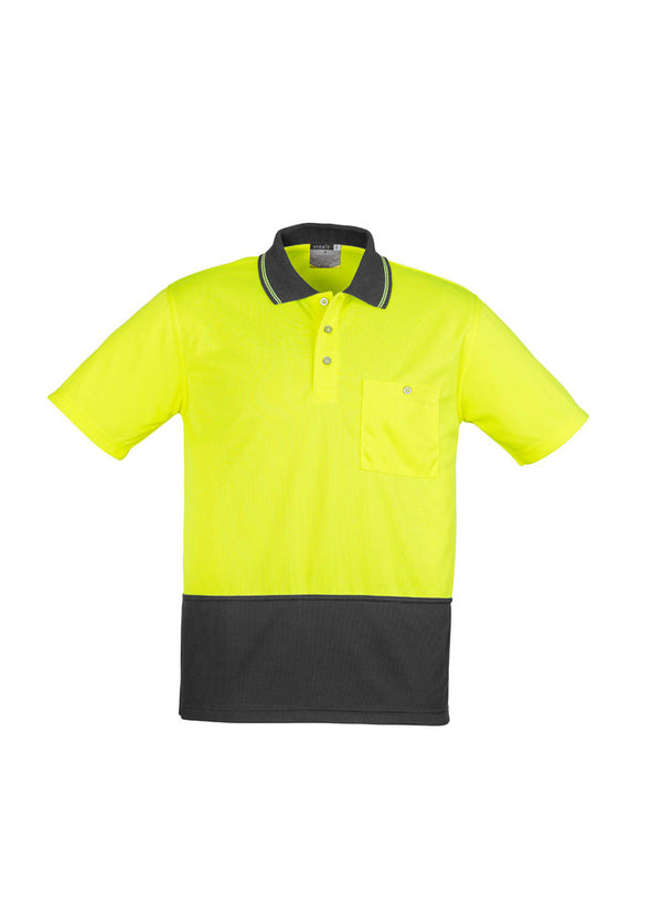 Syzmik Workwear Unisex Hi Vis Basic Spliced Short Sleeve Polo at National Workwear Gold Coast Australia.