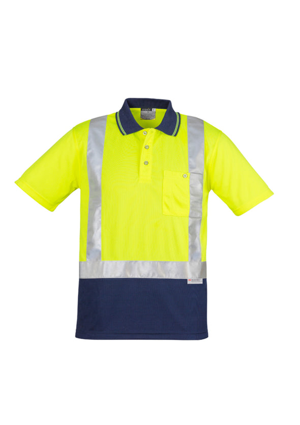 Syzmik Workwear Mens Hi Vis Spliced Polo Short Sleeve Shoulder Taped at National Workwear Gold Coast Australia