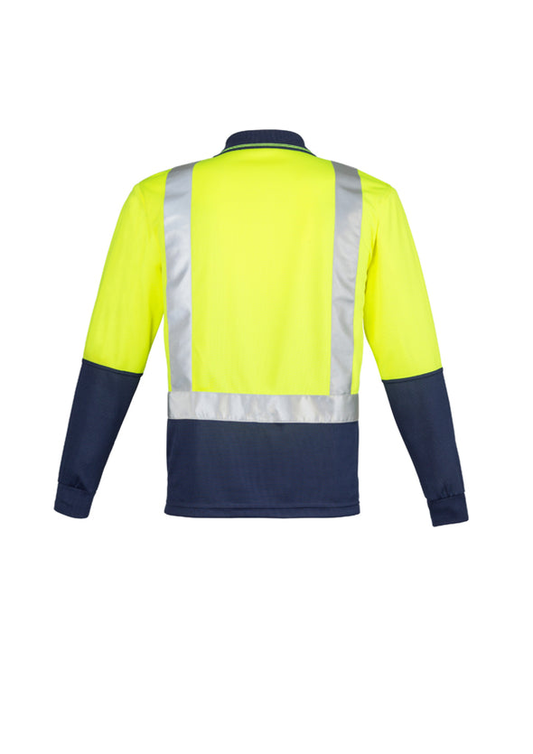 Syzmik Workwear Mens Hi Vis Spliced Polo Long Sleeve Shoulder Taped at National Workwear Gold Coast Australia