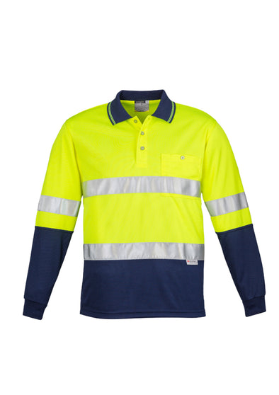 Syzmik Mens Hi Vis Spliced Polo Long Sleeve Hoop Taped at National Workwear Gold Coast Australia