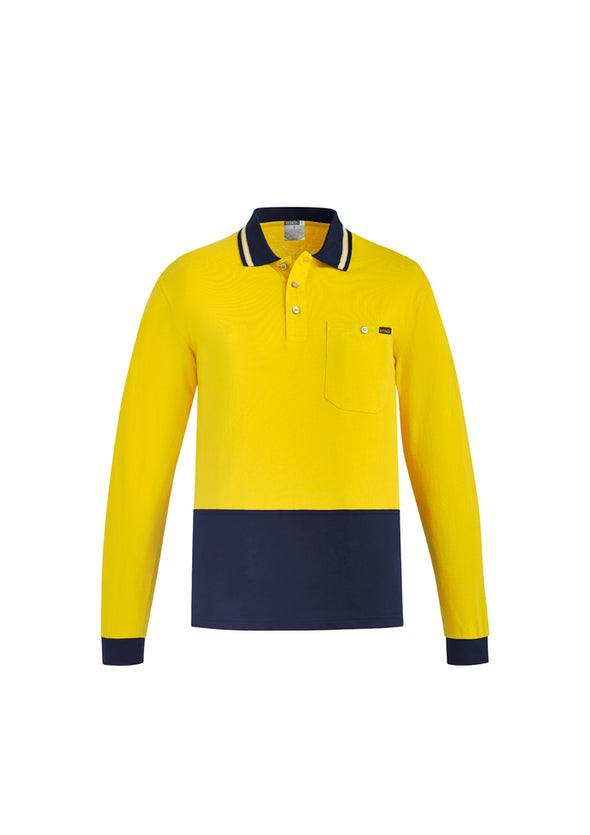 Syzmik Workwear ZH430 Mens Hi Vis Cotton Long Sleeve Polo at National Workwear Australia.