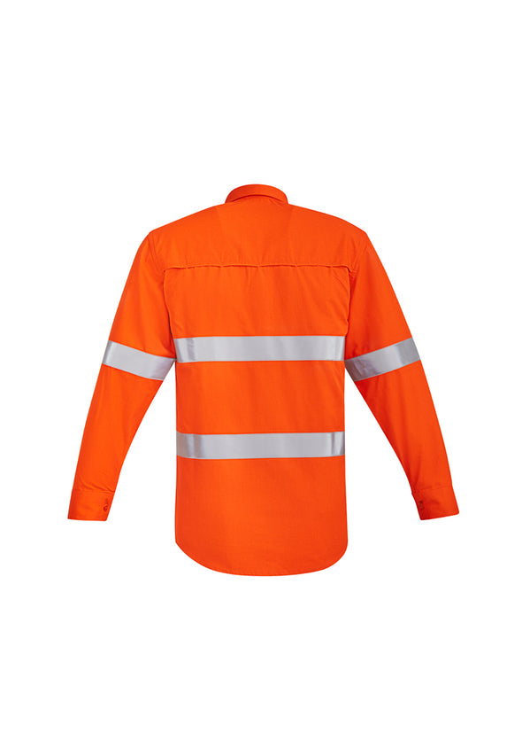 Syzmik - ZW145 - Mens Orange Flame HRC 2 Hoop Taped Open Front Spliced Shirt