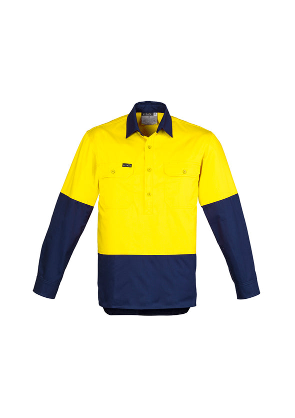 Syzmik - ZW560 - Mens Hi Vis Closed Front L/S Shirt
