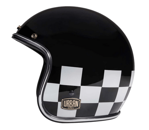 "Checker Flag Helmet Vintage Open Face ""Electric bike helmet""""Electric Motorcycle helmet"""