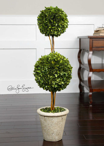 Two-Sphere Topiary Preserved Boxwood ( FAUX ) - rubyandcompanyqc