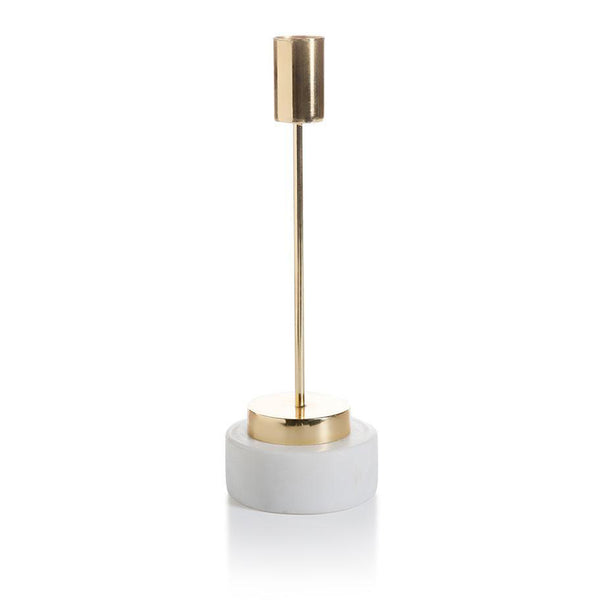 Celine Brass and Marble Taper Candleholder - rubyandcompanyqc