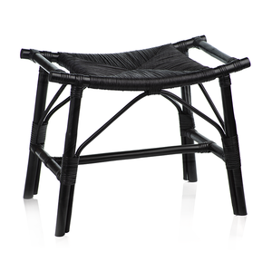Tomoko All Black Rattan Stool - rubyandcompanyqc