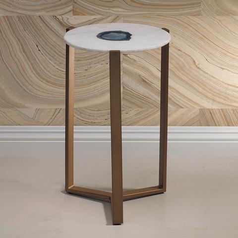 Caspian Agate and Marble Inlay Table, S/2 - rubyandcompanyqc