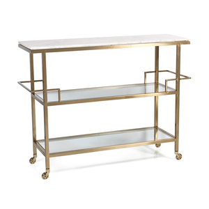 Porto Servo Metal Bar with Makrana Albeta Marble Top - rubyandcompanyqc