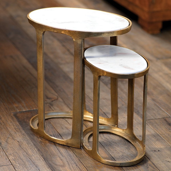 Nikki Oval Marble and Raw Aluminum Nesting Tables - rubyandcompanyqc