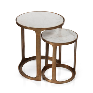 Nikki Round Marble and Raw Aluminum Nesting Tables - Ruby and Company