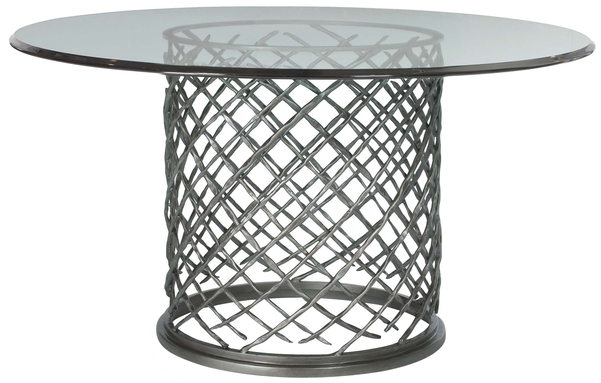 "Hallam Metal Dining Table with Glass Top (60"") - rubyandcompanyqc"