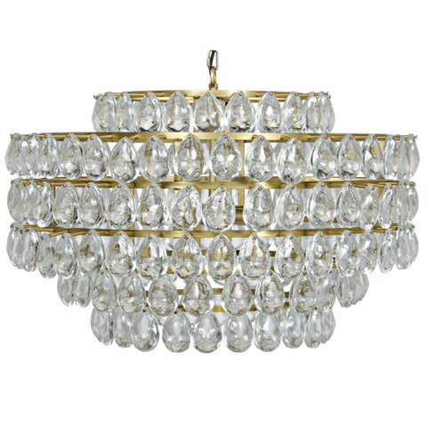 Linden Chandelier, Antique Brass, Metal and Crystal - rubyandcompanyqc
