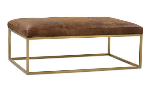 Percy Cocktail Ottoman, Caramel Leather - rubyandcompanyqc