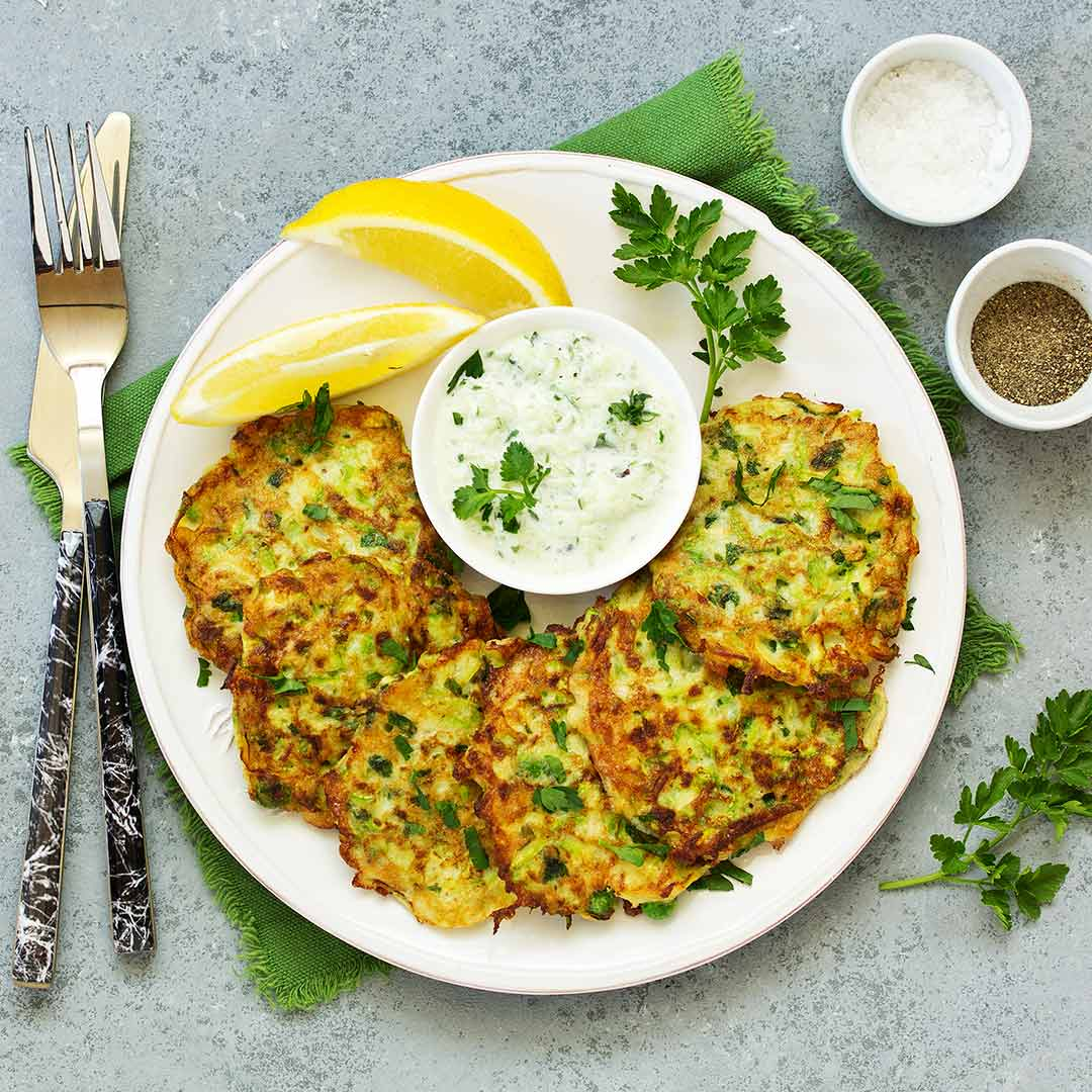Spiced leek fritters with Coconut & Coriander dip