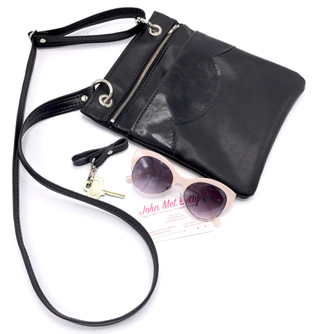 The Cloud Cross Body Travel Bag - Black Patent on Black
