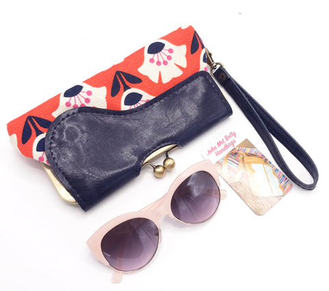 The Audrey Wallet Clutch - Orange Navy Floral