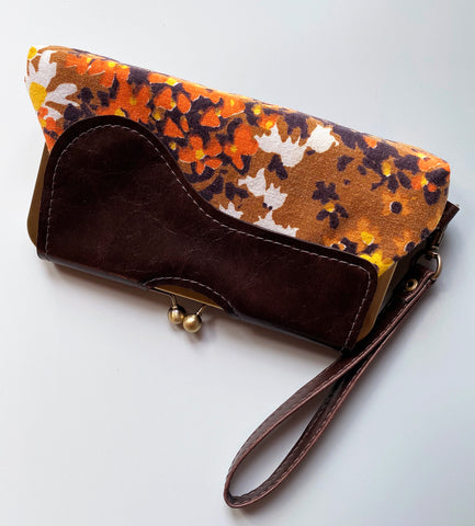 Audrey Clutch Vintage Floral Fabric - Ready To Ship