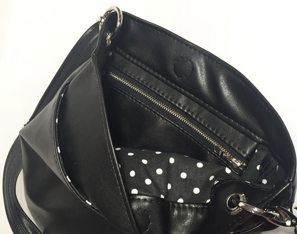 Black Leather Tote Bag Lining Interior