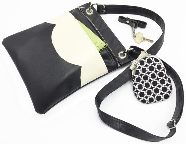 Vegan Leather Black and White Cross Body Travel Bag