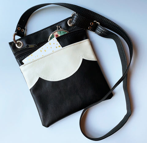 The Cloud Travel Cross Body Bag - Black + Cream