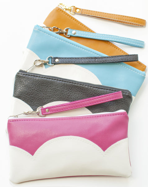 Vegan Leather Zippered Cloud Clutch with Wristlet - Pink