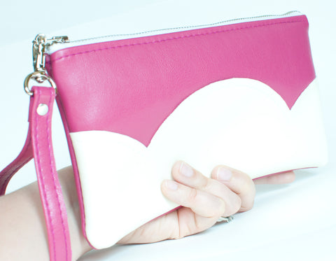 Vegan Leather Handbag Pink Clutch Purse