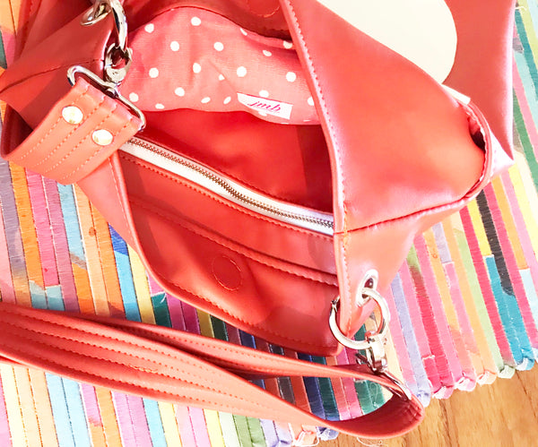 Coral Cloud Tote from Cloud Collection Lining View Coral and White Dots