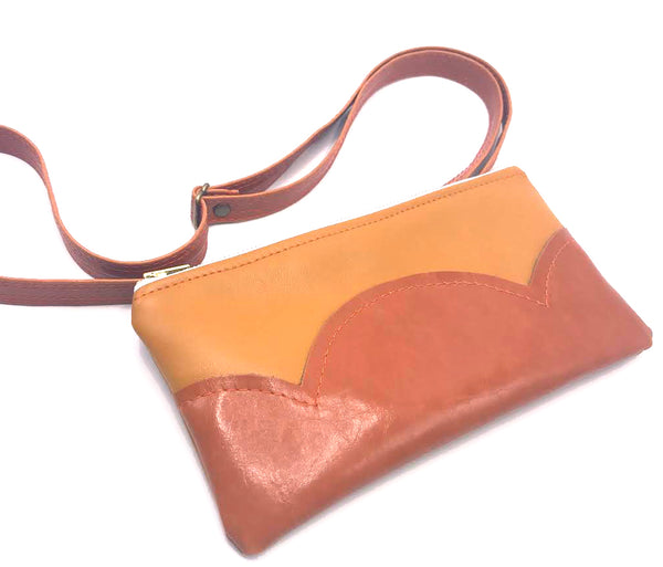 Mustard and Orange Vegan Leather Fanny Pack Front View