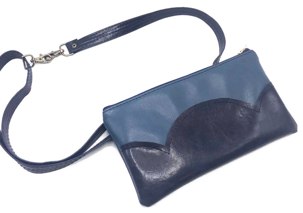 Teal and Navy Cloud Collection Fanny Pack with Belt