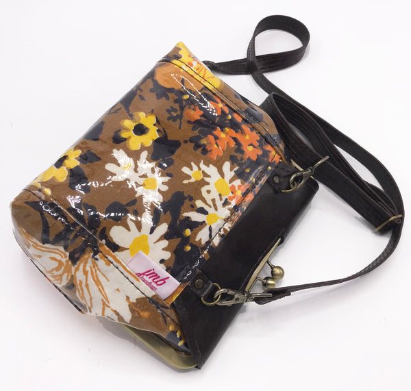 Vegan Leather Brown Floral Cross Body Bag Back View