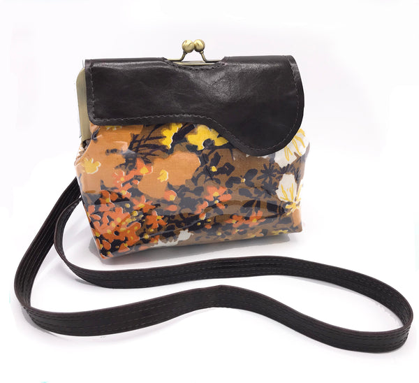 Vintage Brown Floral Waterproof Cross Body Bag Vegan Leather