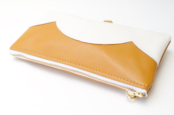 Vegan Leather Zippered Cloud Clutch with Wristlet - Mustard
