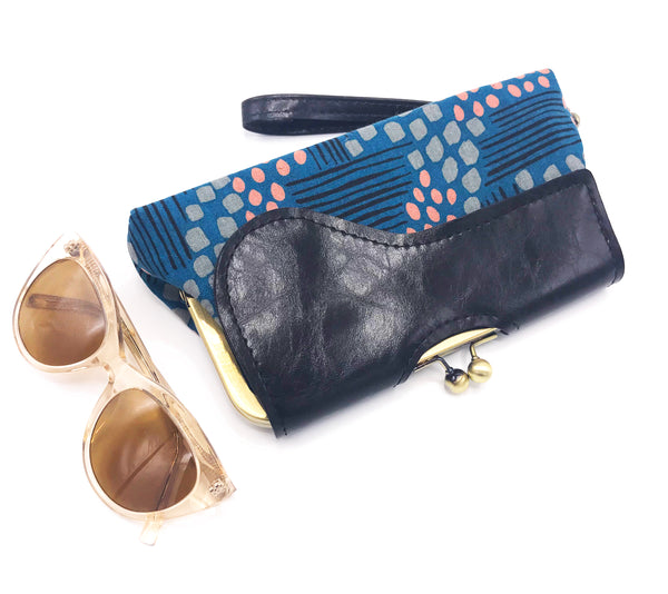 Audrey Clutch Blue Abstract Print
