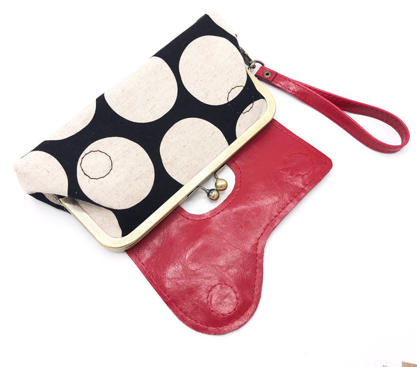 The Audrey Wallet Clutch - Featuring Red Vegan Leather and Black and White Polka Dots
