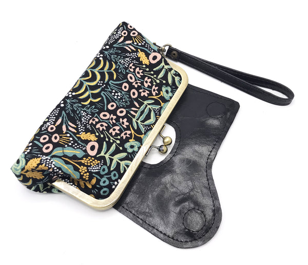The Audrey Wallet Clutch - Featuring Rifle Paper Co Print by Cotton and Steel - Black and Gold