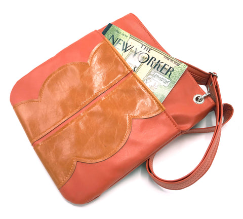 Cloud Cross Body Tote - Coral and Orange Tone on Tone Vegan Leather