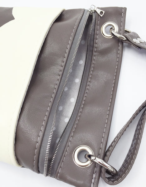 Interior Lining View Grey Vegan Leather Crossbody Bag
