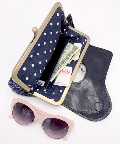 Leather Wristlet Clutch Interior Lining View Navy and White Polka Dots