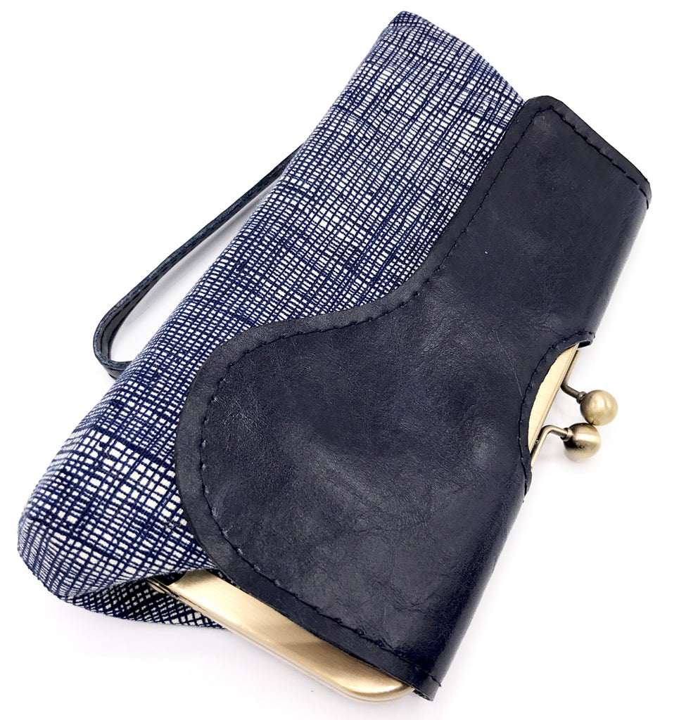 Vegan Leather Navy Wristlet Clutch Front View