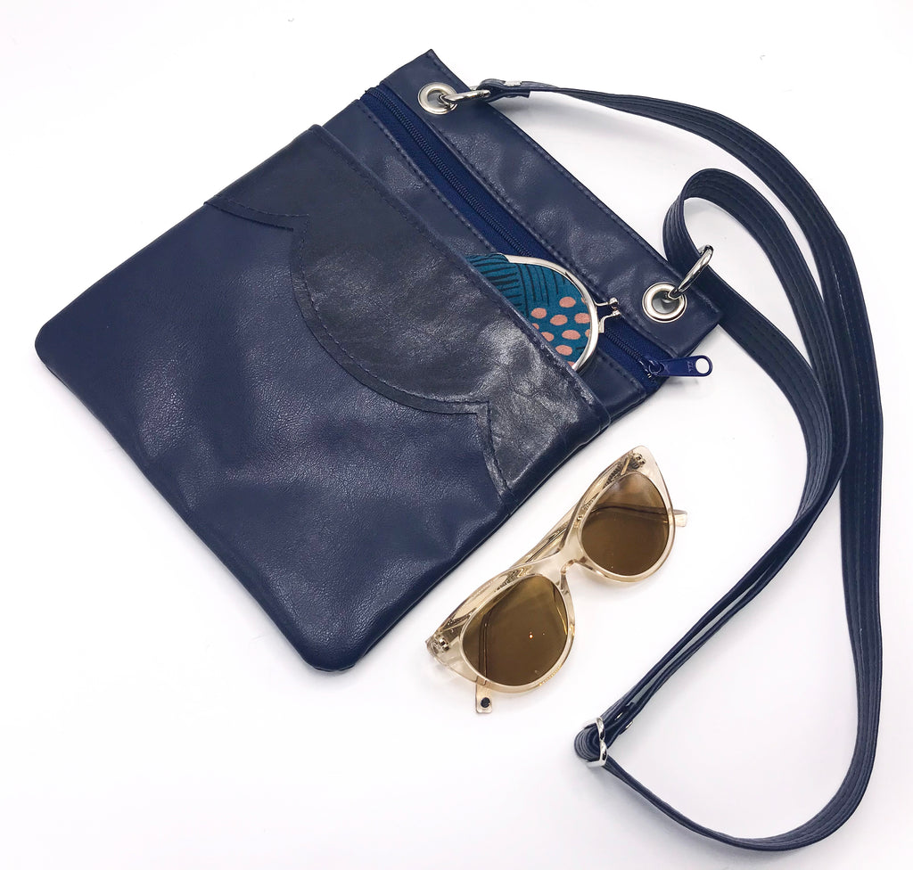 The Cloud Cross Body Travel Bag - Navy on Navy - Ready To Ship