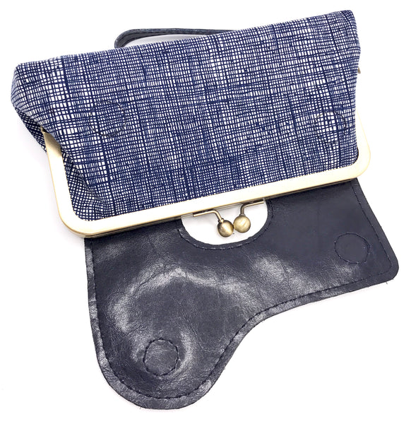 Vegan Leather Navy Wristlet Clutch Open View