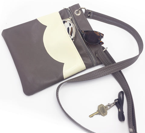 Grey Vegan Leather Travel Bag Crossbody Bag