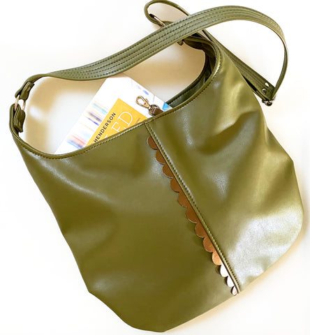 Vegan Leather Tote Bag Olive Green