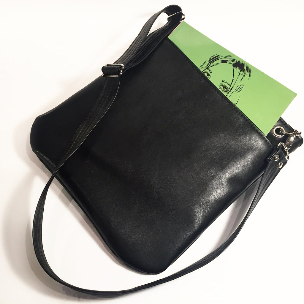 Solid Black Vegan Leather Tote Bag With Pockets