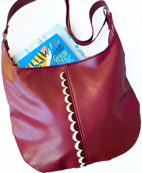 The Twyla Cross Body Tote Featuring Double Scallops - Click for More Colors!