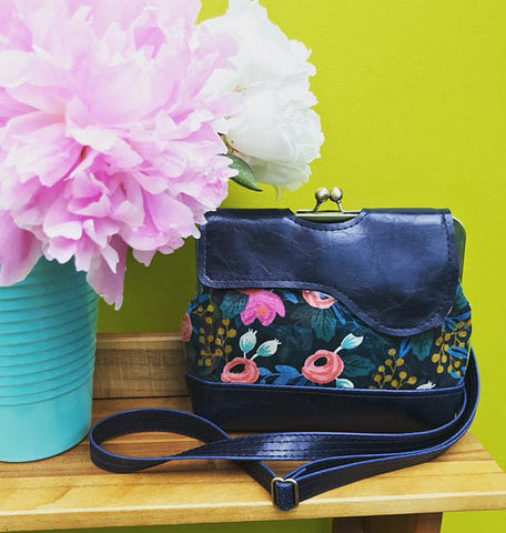 Audrey Waterproof Cross Body Bag - Featuring Navy Rifle Paper Co Floral