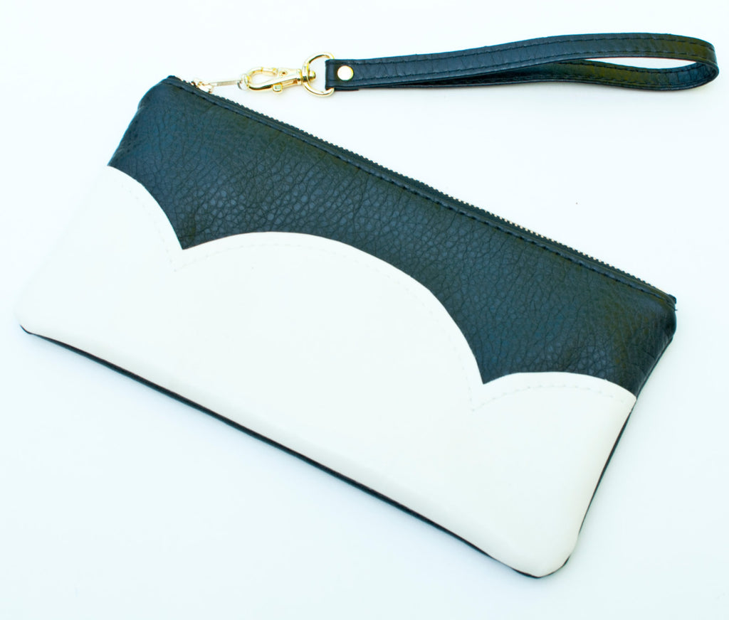 Vegan Leather Clutch Purse, Black and White, With Wristlet