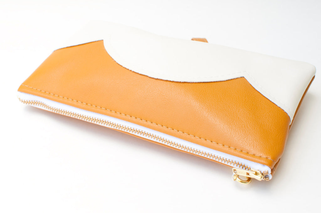 Vegan Leather, Wristlet Cloud Clutch, Mustard